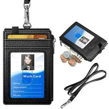 Leather ID Badge Card Holder <strong>Wallet</strong> with 5 Card Slots RFID Blocking Pocket Neck Lanyard Strap for Offices ID School