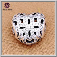 Summer jewelry 925 Sterling Silver Radiant pave heart charms Original Fit European Bracelet Authentic Beads Jewelry Making