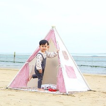 Kids Teepee Tent With Aluminum Pipe Metal Poles In Solid White Cotton Linen