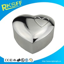 2016 New Design Zinc Alloy jewel case Heart Shape caskets and silver plating Jewelry Box with Top Quatity