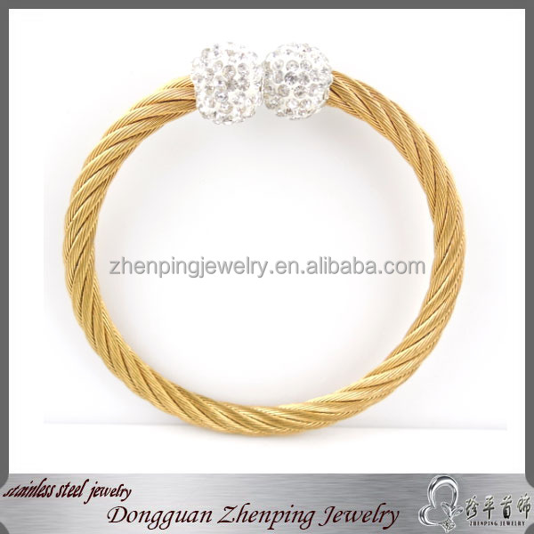 glittering jonquil bangle 316l stainless steel bracelet with zircon ball