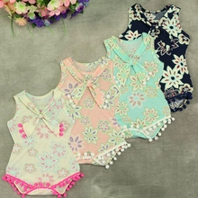 Girl's ruffles romper dresses summer clothing baby pom pom cotton floral printed newborn romper