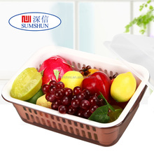Square double kitchen drain basket of fruit and vegetables / vegetables washing basket / bowl with cover square cleaning basket