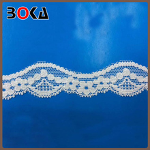 Top selling BOKA double scalloped nylon and spandex lace trim For Uniform