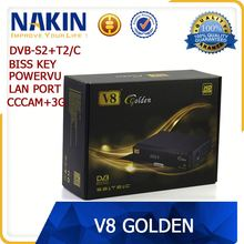 Full speed 3G usb dongle iptv box with satellite tv receiver dvb-s2+t2+cable Freesat v8 golden