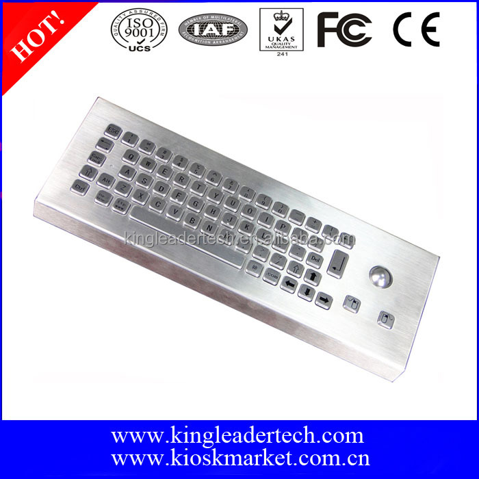 High end industrial rugged metal desktop keyboard with trackball