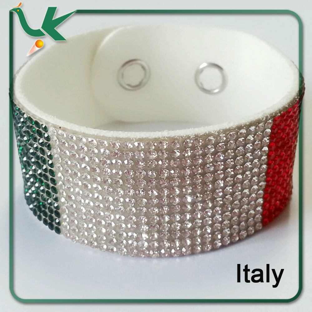 Rhinestone Italy Flag European style Leather Wrap Bracelet for World Cup