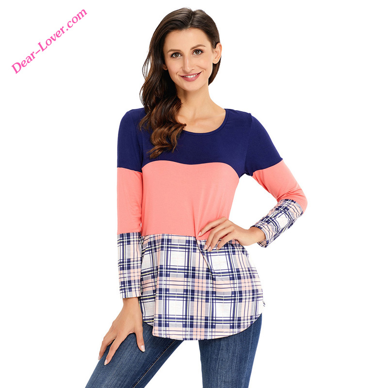 Black Coral Block Plaid Long Sleeve Top for women