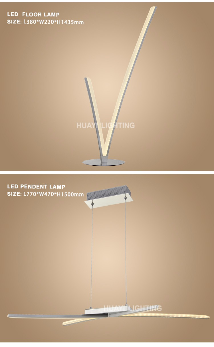 LED lights home Restaurant Chrome finish modern floor lamp 28W