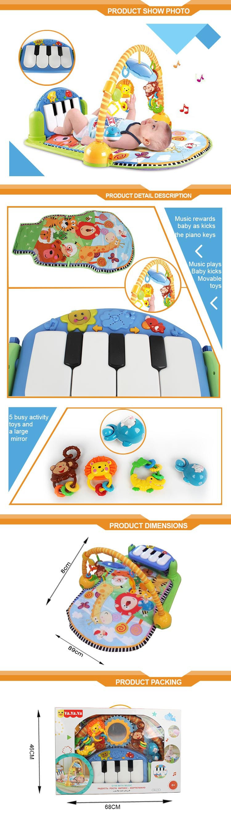 Rainforest gym mat musical baby play mat piano kick play mat