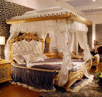 Luxury French Rococo Style Wood Carved Marquetry Canopy Bed/ Royal Four Poster King Size Bed/ Fancy European Bedroom Furniture