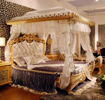 Luxury French Rococo Style Wood Carved Marquetry Canopy Bed Royal Four Poster King Size Bed