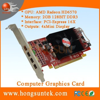 OEM AMD ATI Radeon HD6570 PCIe 4 Mini Display ports Low Profile DDR3 2GB Multi-Display video graphic card