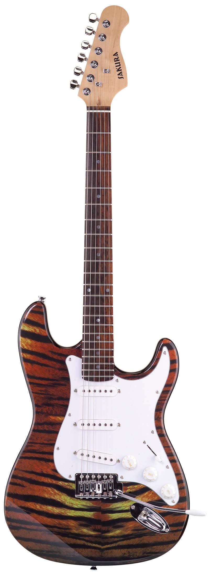 Sakura Eeg-075 St Guitar Tiger Pattern Veneer Solid Wood ...