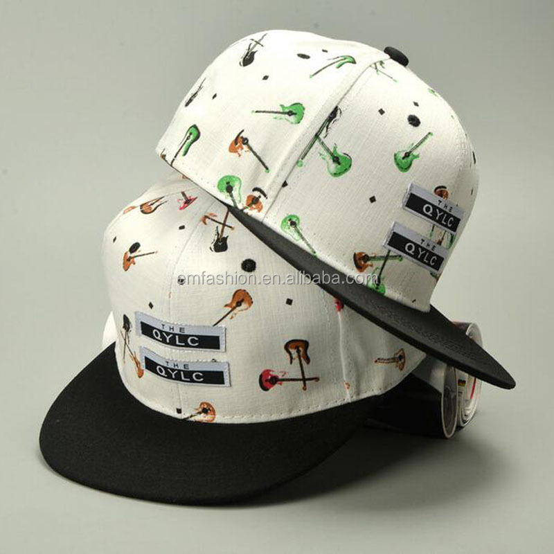 Fashion Graffiti Women Men Unisex 6 Panel Hip Hop Guitar Print Snapback Cap