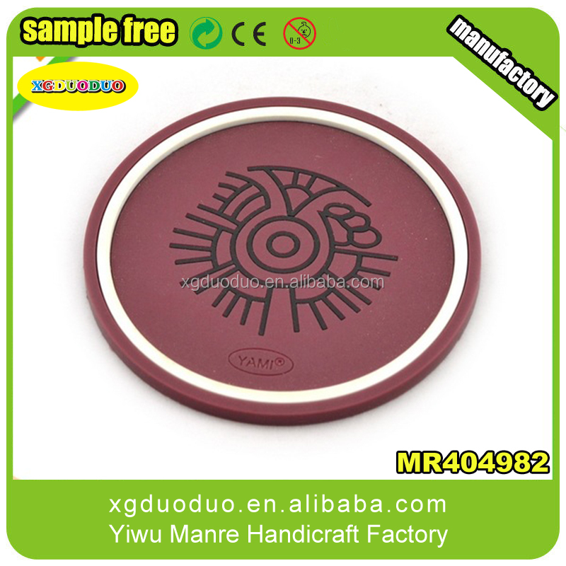 Custom round shape brand printed pvc logo coffee mat/cup coaster