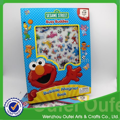 High Quality Customized Magnet puffy Sticker Book for kids,Manufacturer printing in china alibaba