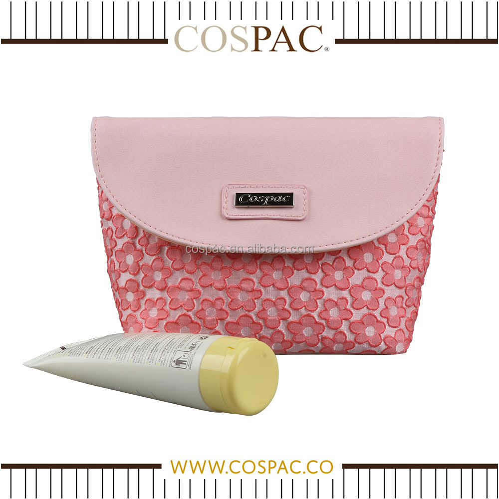 Manufacturer Adorable Small Pink Floral PU With Flip Cover Travel Cosmetic Bag