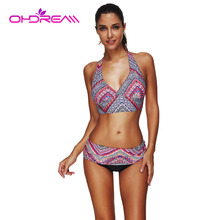 OHDREAM Miduo Bikini Set Colorful Flower Print Push Up Two Piece Swimsuits High Waist Bottom Bathing Suit Halter Strap Female -A