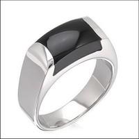 SJ R110018 Unique Design 316L Stainless Steel Pave Black Agate Men Band Ring