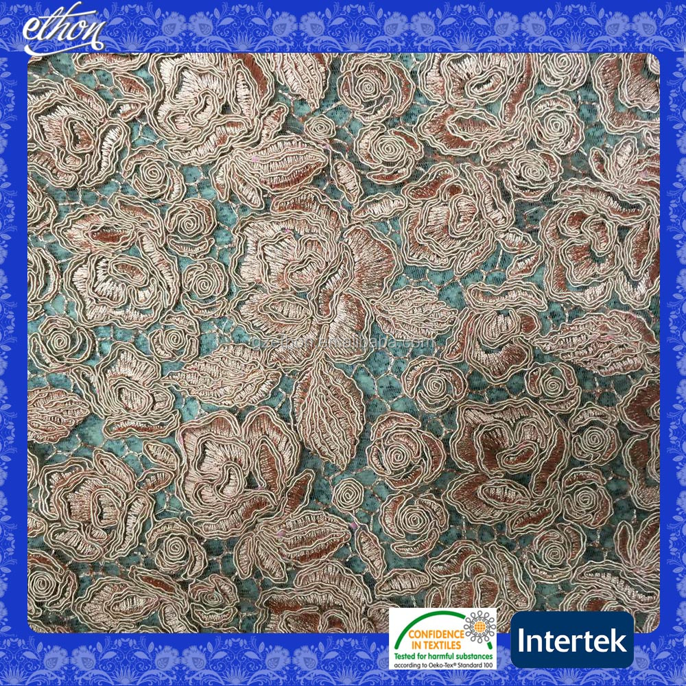 Wholesale pink color heavy cord 3d flower Chemical embroidery African net lace embroidery fabric for wedding dress