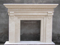 Natural Stone White Marble Indoor Used French Style Electric Fireplace Mantel