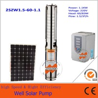 1100W High speed deep well Solar Water Pump with brushless motor and network operate for agriculture, fountain