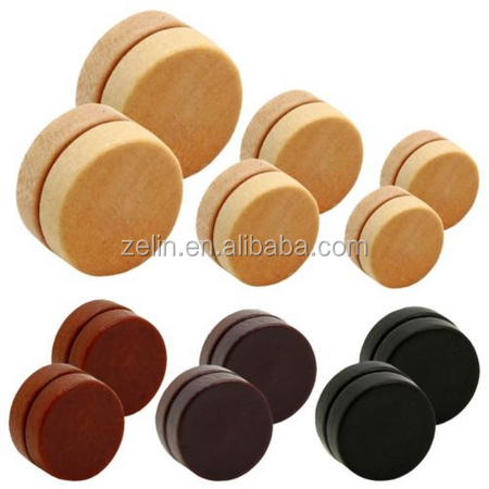 Wood Plug Magnet Fake Wood Plug Fake Ear Plug Earrings