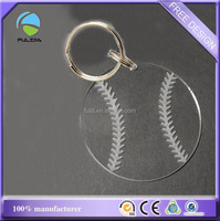 custom transparent clear engraved acrylic sports blank baseball shaped keychain