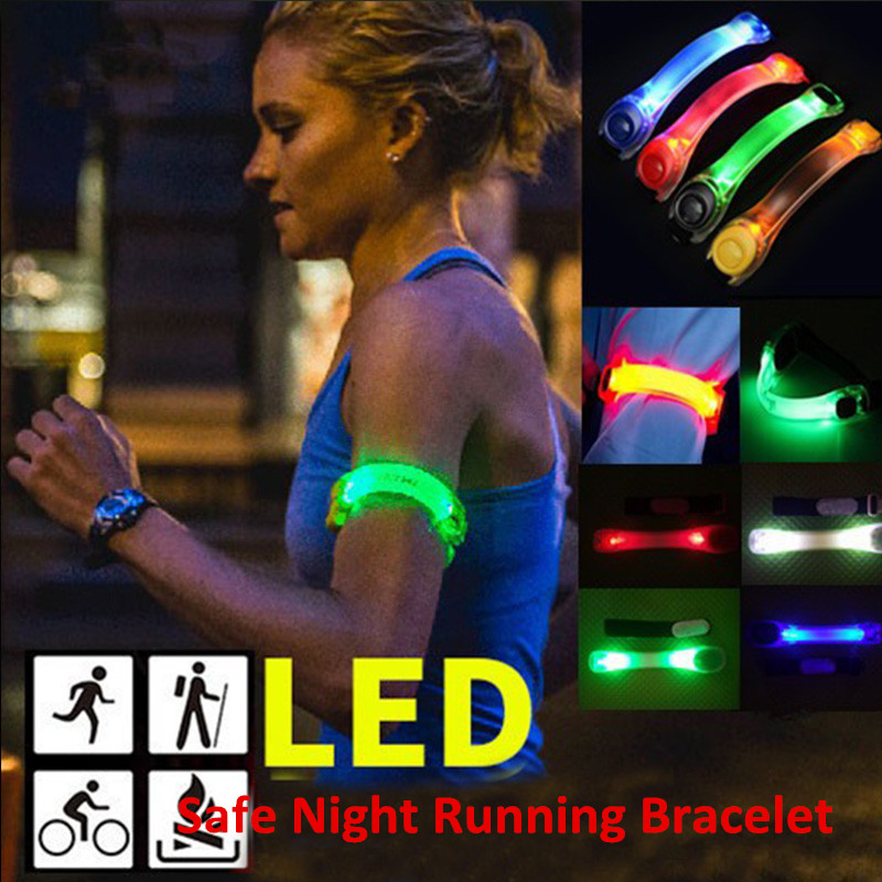 Motion Light Arm Bracelets Silicone Safety Warning Night Running LED Luminous Wristband