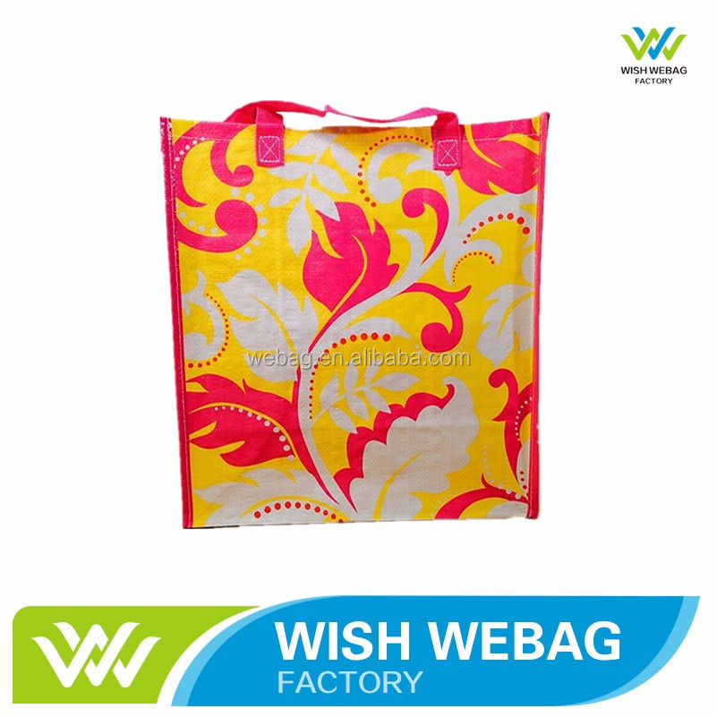 High Quality Reusable Laminated Color PP Woven Shopping Bag