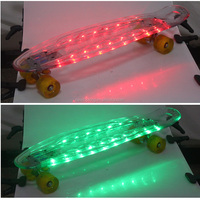 wholesale custom selling led plastic skateboard / flashing cruiser skateboard size 27
