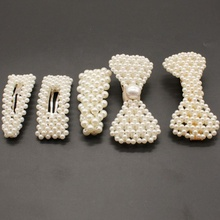 Korea Fashion Imitation Pearl Hair Clip Barrettes for Women Girls Handmade Pearl Flowers Hairpins Hair Accessories