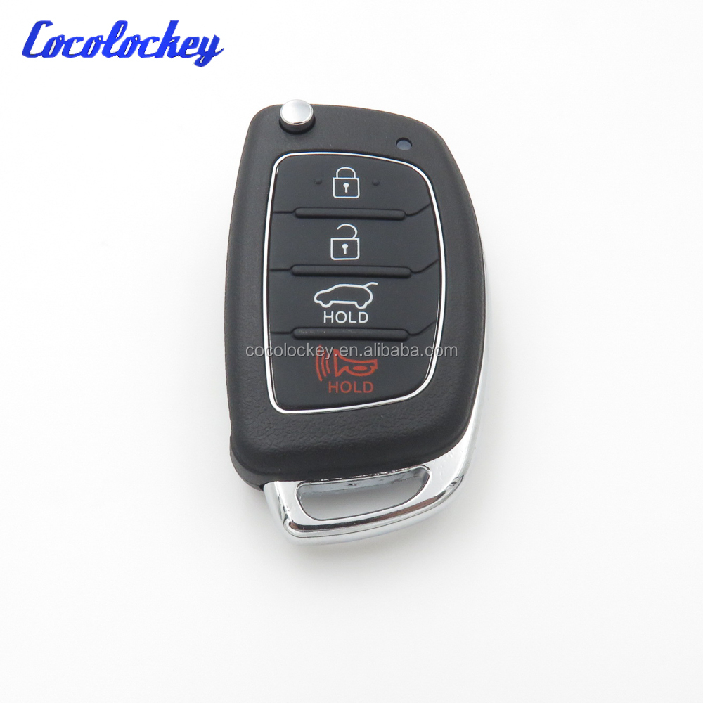 Cocolcokey Remote Key Shell for Hyundai 4 buttons SANTA FE ix35 i30 Folding Flip Key Blank Auto Replacement Parts Car Key
