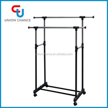 Double Pole Laundry Rack Metal Clothes Drying Rack & Coat Hanger Stand