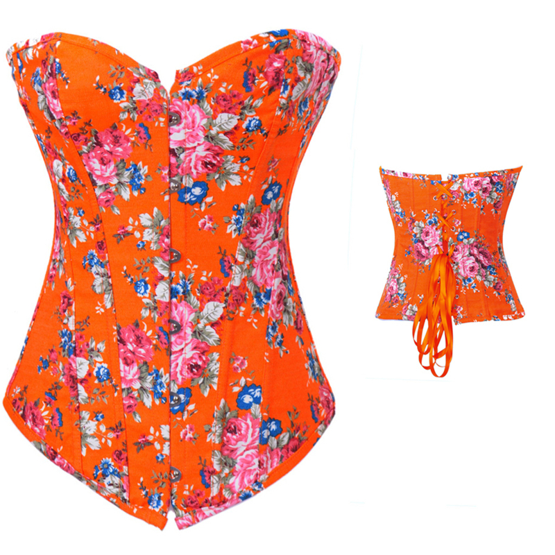 Mature women sexy lingerie orange printed corset for zip back corset