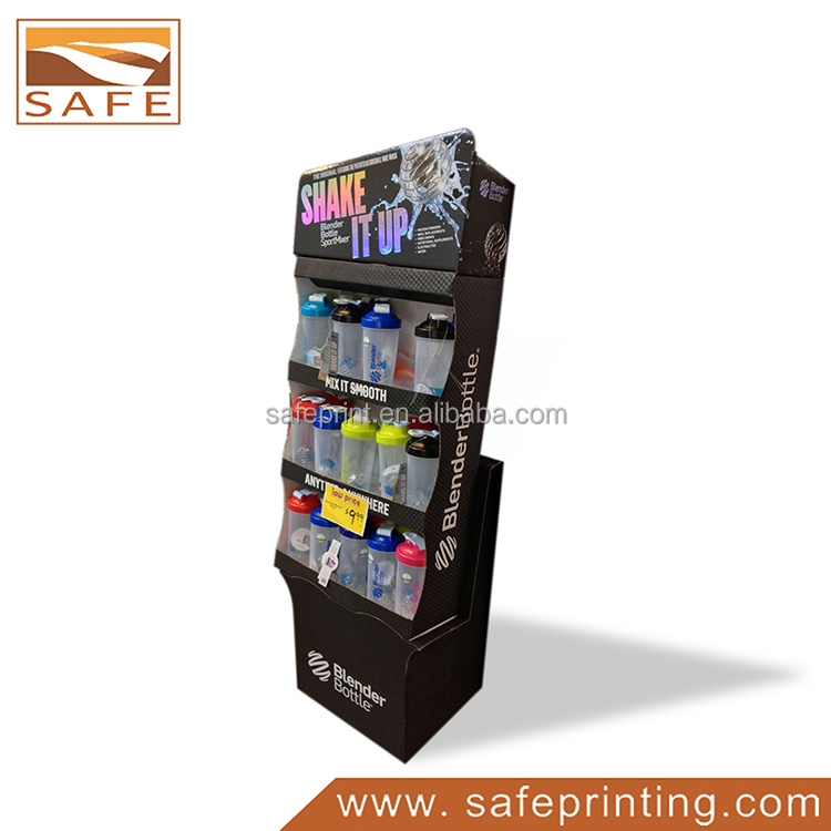 Promotional Retail Display Stand,Cardboard Floor Shelf Display for Cups, Pop Paper Display Joyshaker Cups for Protein Shakes