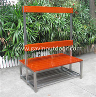 Stainless steel and wooden changing room bench seat