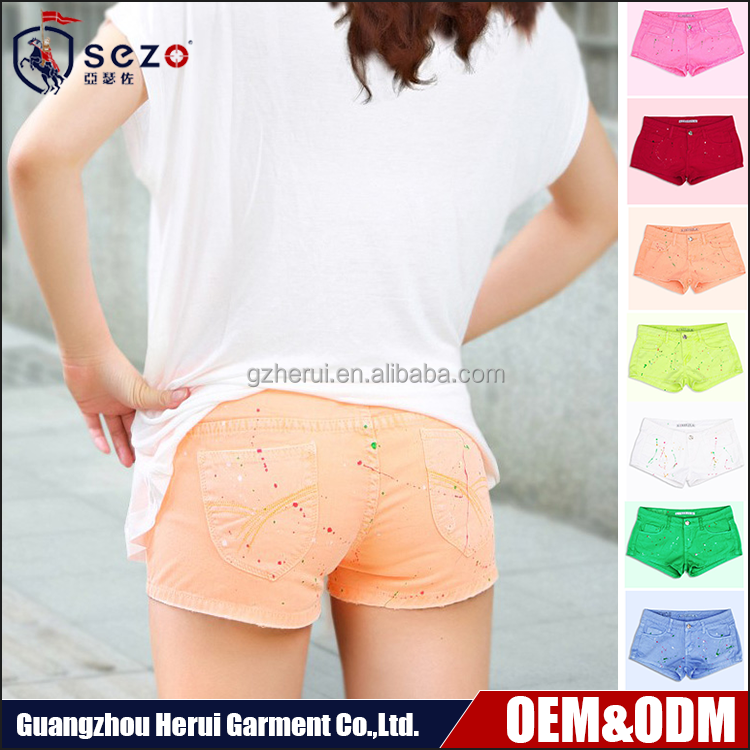Hot Sale Fashion Colorful 100%Cotton Ladies Mini Denim Jeans New Design Women Washed Slim Short Jeans