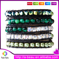 Colorful leather cord imitation pearl and glass beads wrap bracelets
