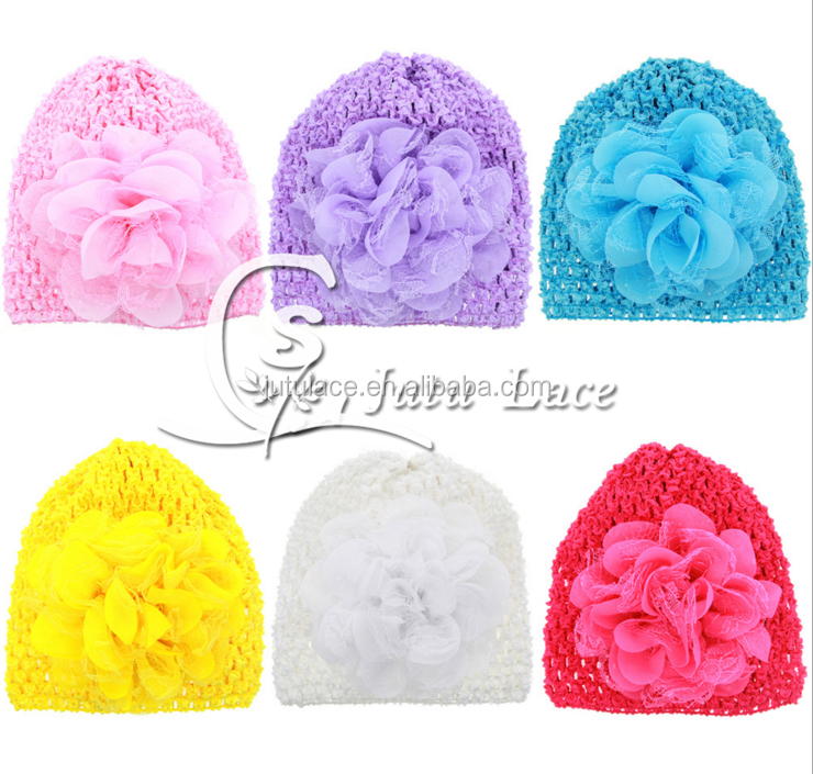 Hot stamp Knitted Baby Hat elastic baby hat in summer 6 color gauze hollow cap