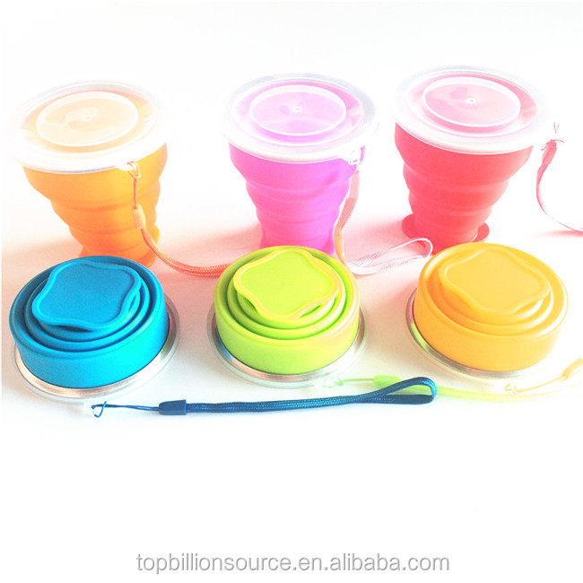 Outdoor travel 8floz 240ml retractable collapsible silicone coffee Tea Mug cup