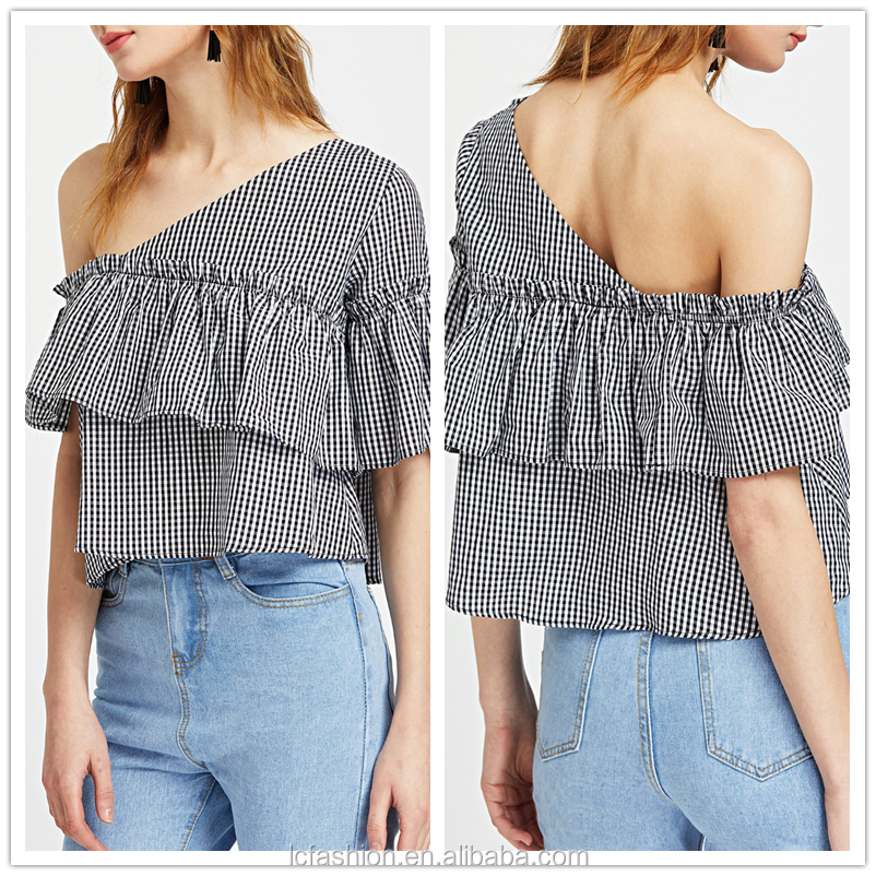 One shoulder ladies new fashion plaid blouse tops for women 2017 blouses