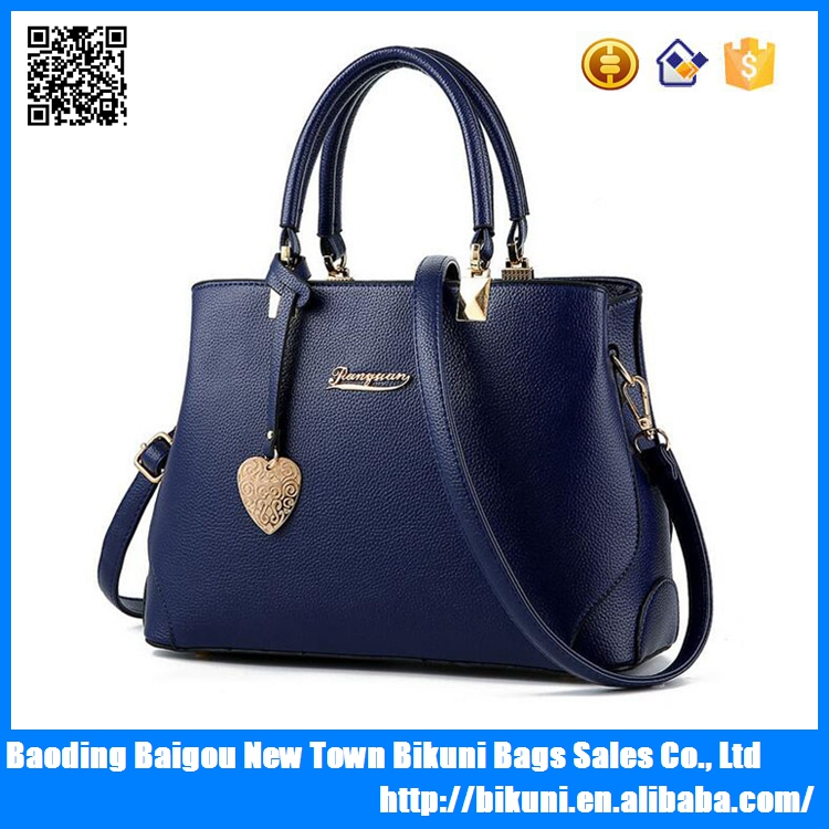 Low MOQ PU leather fashion women bags tote handbag made in China