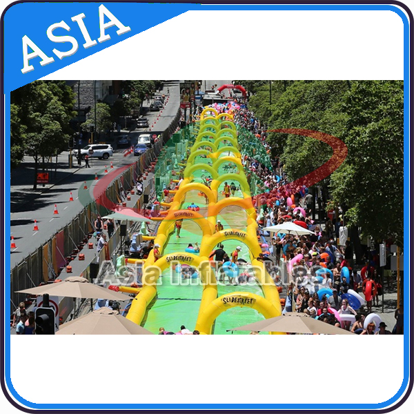Double Lane Inflatable Water Slip Slide / Inflatable Slide The City