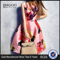 MGOO 2015 OEM/ODM Cheap Clothes New Fancy Ladies Design Dress Floral One Piece Sleeveless Summer Vestidos K071543