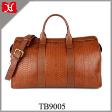 Genuine Leather Luggage Travel Bag for Men python duffle travel bag