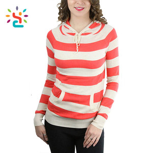 Wholesale 100% cotton hoodie plain women striped hoodie athletic summer tshirt hoodie