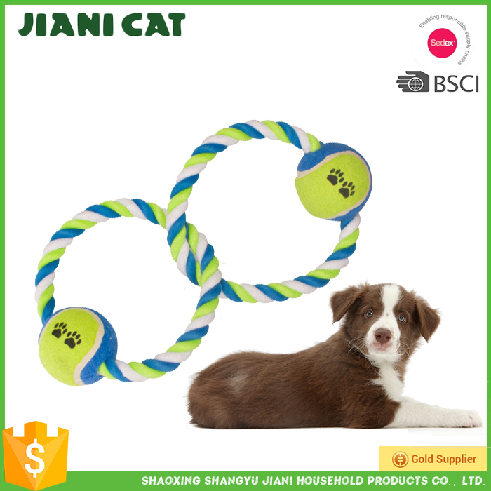two tennis balls pet accessory of dog rope toy