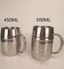 Jeganice Double Wall Barrel stainless steel Coffee/Beerr mug